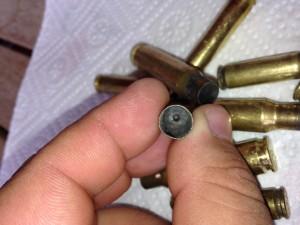 interno di un bossolo di 9x21 sparato