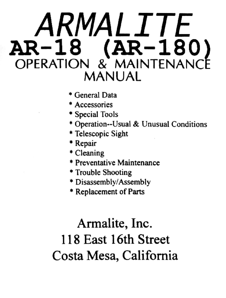 Armalite Ar180 Operation and Maintenance Manual
