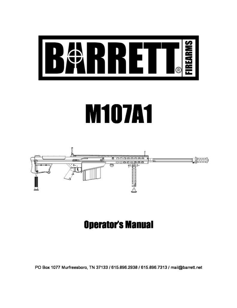 Barrett M107A1 Operator's Manual