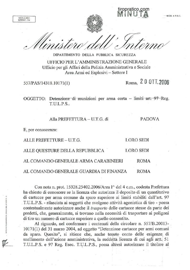 Circolare 557/PAS/14318.10171(1) del 20 ottobre 2006 - Detenzione di munizioni per arma corta - limiti art. 97 Reg. T.U.L.P.S.
