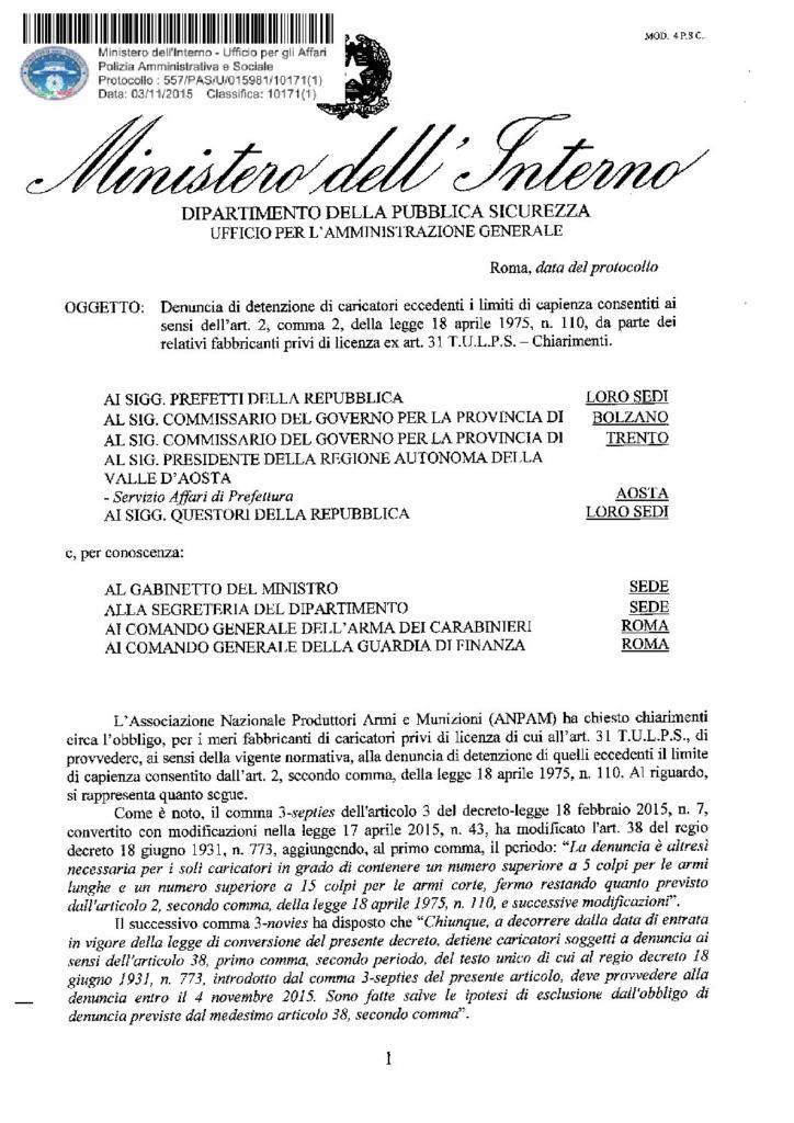 Circolare 557/PAS/U/015981/10171(1) del 03 novembre 2015 Denuncia di detenzione caricatori eccedenti i limiti di capienza consentiti ai sensi dell'art. 2