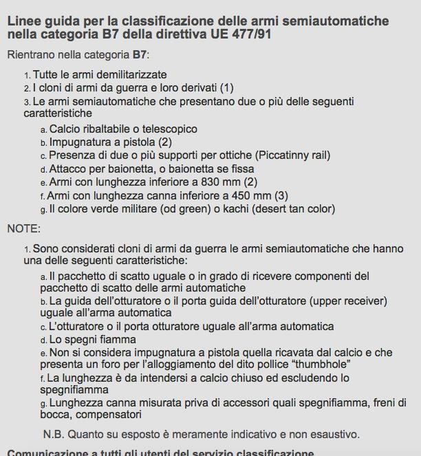 Linee Guida Banco Armi B7