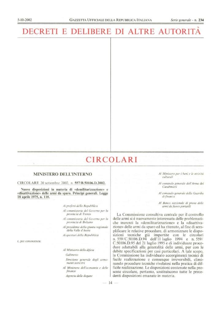 Circolare 577/B.50106.D.2002 del 20 settembre 2002 - Nuove disposizioni in materia di «demilitarizzazione» e «disattivazione» delle armi da sparo
