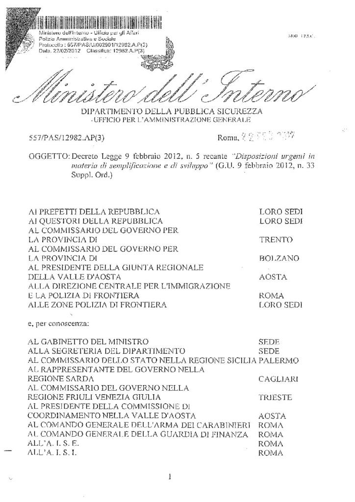 Circolare 557/PAS/U/002901/12982.A.P(3) del 22 febbraio 2012 - Decreto Legge 9 febbraio 2012, n. 5 recante