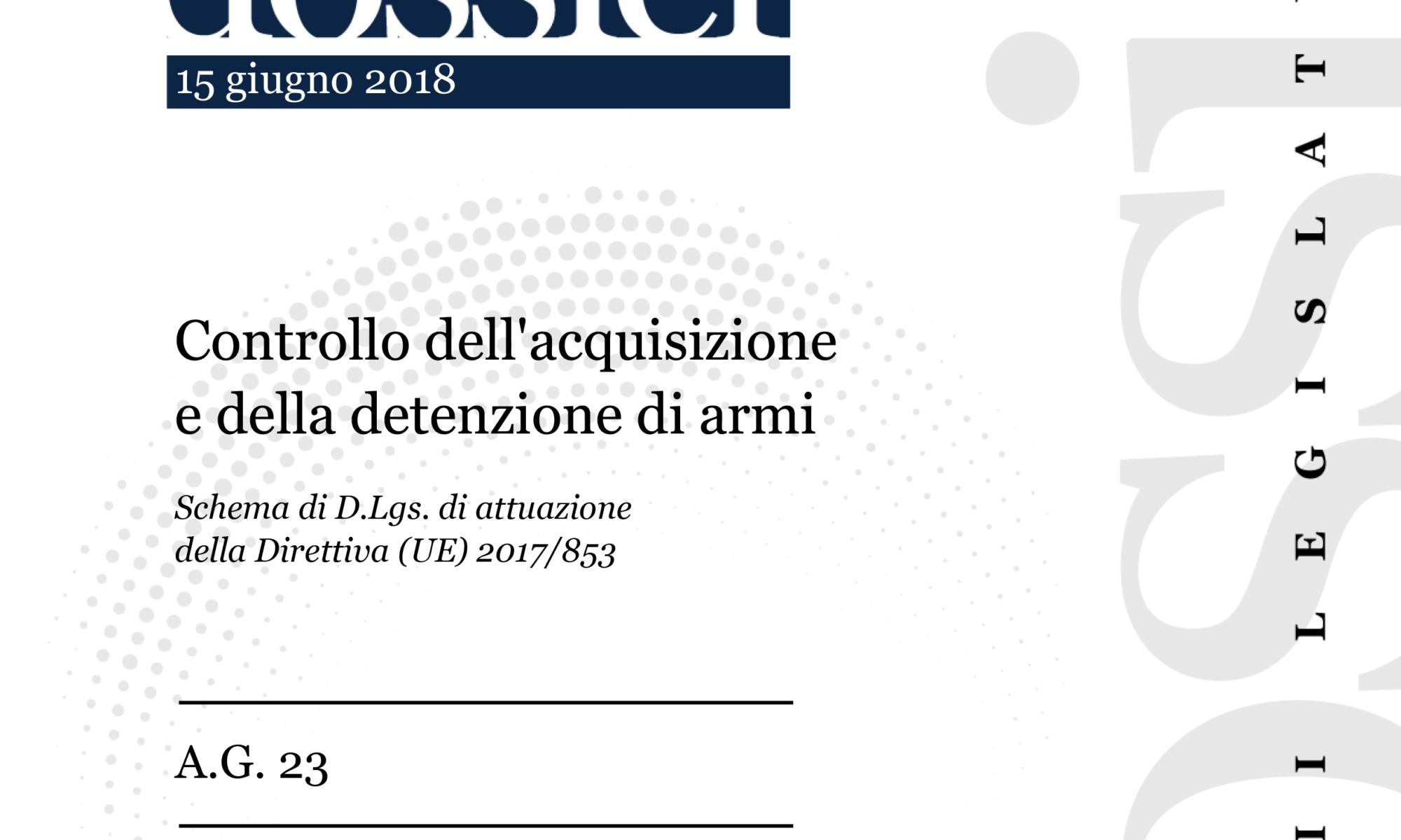 Dossier A.G. 23 - Controllo acquisizione e detenzione armi - Copertina
